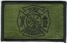 "Woodland Green Black 2"" x 3 1/8"" Firefighter Fire Rescue Maltese Cross Patch"