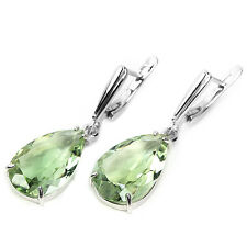Sterling Silver 925 Genuine Natural Pear Faceted Green Amethyst Earrings