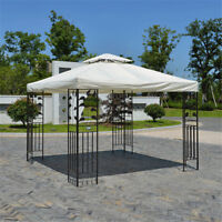 10'x10' Gazebo Tent Top Canopy Replacement 2-Tier Patio Sunshade Garden Cover