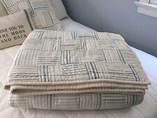 "Ralph Lauren ""Catalina Island"" Stripe Patchwork Quilt / Blue-Cream /Full-Queen"