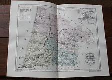1850 Carte Géographique Atlas époque couleur Département 40 Landes