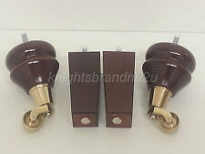 4x WOODEN FURNITURE FEET LEGS WITH BRASS CASTORS SOFAS, CHAIRS, SETTEES M8