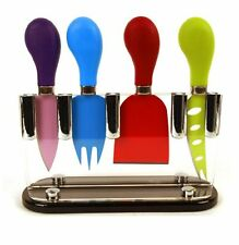 Taylor's eye 4 Piece Cheese Knife Set with Stand- Coloured, Ideal Gift for Xmas