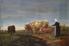Quality Hand Painted Oil Painting Milkmaid and Cows 24x36in