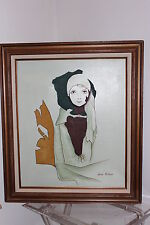 KEVIN McALPIN'S Portrait of a Lady Flapper Girl Oil Painting Wooden Frame Canvas