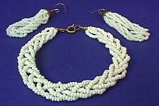 Vintage SET OF WHITE BEADED LADIES PIERCED EARRINGS & BRACELET OLD JEWELRY EUC
