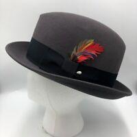 Vintage Bee Custom Made Fedora Men's Hat Master Hatter Gray Wool USA Size 7-1/4