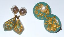 Genuine Gold Flake Confetti Lucite Earrings LOT 2 Pierced and Clip Mid Century