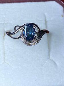 Golden 14 K 585 Diamant Ring 0.74 SI1 Blau Farbe