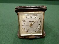 Vintage Seth Thomas Leather Folding Travel Alarm Clock 7 Jewels for Parts Repair