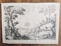 Pastoral Scene with Shepherds Giovanni Benedetto Castiglione Baroque Engraving
