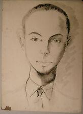 Peinture Original Aquarelle EDOUARD GOERG (1893-1969) Prortrait Homme EG26