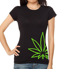 Junior's Bottom Weed Leaf Black T Shirt Women's Marijuana Kush Blunt High stoned