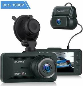 TOGUARD Both 1080P FHD Dual Lens Dash Cam Front And Rear Dual Car Camera Screen