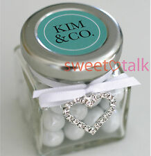 WEDDING FAVOUR - TIFFANY CHOCOLATES CANDY JAR AND JEWEL HEART CHARM