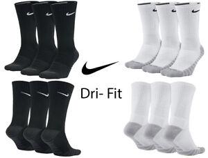 NIKE Men's Dri-Fit Cotton Sports Trainer Crew Socks Cushioned Socks (3, 6 Pairs)