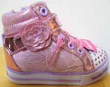 Girls Skechers Pink Lace Doily Dance Twinkle Toes Light Up Sneakers Sz 8