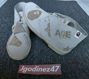 Bape x Clarks Originals Desert Boots Sand Suede Grey Size 10.5 100% Authentic