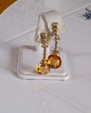 14K YELLOW GOLD BRIOLETTE CUTY CITRINE DIAMOND DROP EARRINGS