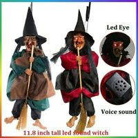 "UK 12"" Halloween Hanging Animated Talking Witch Props Laughing Sound Control"