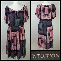 Intuition Blue Pink Paisley Patchwork Print Hippy Prairie Dress Size L
