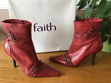 Ladies Faith scarlet red leather buckle detai calf length boots UK 5 EU 38 + box