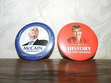 JOHN MCCAIN PRES. SARAH PALIN FOR VICE PRESIDENT 2008 CAMPAIGN PINS LOT OF 2 #3
