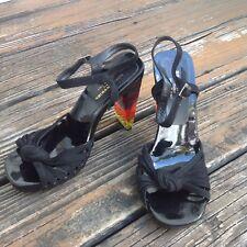 Sonia Rykiel Black Rainbow Lucite 39.5 Acrylic Heels Suede Sandals Ankle Strap