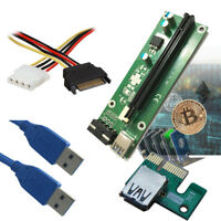 2x PCI-E Express Powered Riser Card W/ USB 3.0 extender Cable 1x to 16x ETH ETC