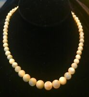 Vintage/Antique Mother Of Pearl Or Moonstone Beaded  Necklace