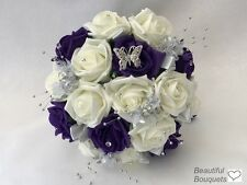 Wedding Flowers Ivory Rose purple Bouquet, Bride, Bridesmaid, Flower-Girl Wand