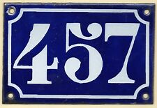 Old blue French house number 457 door gate plate plaque enamel metal sign c1900