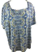 Kim Rogers knit top size 3X blue yellow paisley cotton square neck short sleeve