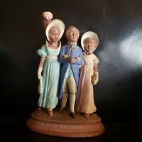 Antique Bernard Bloch Figurine Victorian Terra Cotta Trio w/Branch 50s Very Rare