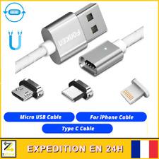 CABLE USB CHARGEUR MAGNETIQUE AIMANTÉ ANDROID Micro usb TYPE-C IPHONE au choix