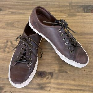 Frye Mens Sneakers Brown Leather Lace Up Low Top Shoes Size 9