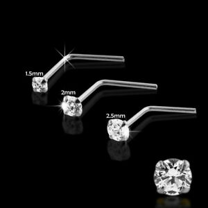 22 Gauge 9K Solid Gold L-Shaped High Quality Cubic Zircon Jeweled Nose Stud