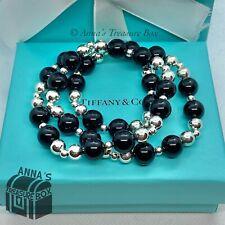 "Tiffany & Co. 925 Silver Bead Ball Black Onyx 22"" Necklace + Receipt (case)"
