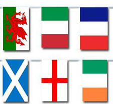 100FT RUGBY 6 NATIONS FLAGS BUNTING IRELAND ENGLAND WALES SCOTLAND ITALY FRANCE