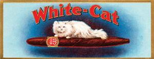 Vintage White Cat cigar label ad reproduction steel sign bar decor