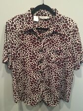 Off White Red Black Animal Print Kathy Che Women's Button 14 Top Shirt Blouse