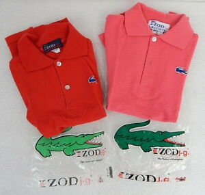 2 VINTAGE 1980s NEW Izod Lacoste Boys Polo Golf Shirt Size 10 Pink Red