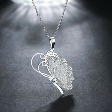 CH Fashion New Silver Plated Women Crystal Butterfly Chain Pendant Necklace Gift