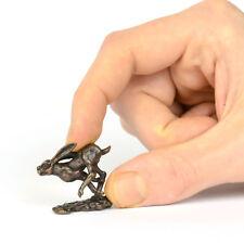 Running hare, miniature hot cast bronze countryside sculpture for bonsai display