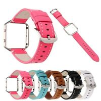 Metal Frame Cover Genuine Leather Band Wrist Strap Watch Band For Fitbit Blaze