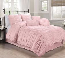 Chezmoi Collection 7pcs Shabby Chic Ruched Ruffle Comforter Set Queen, Pink