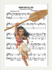 MOANA MUSIC SHEET SCORE PAGE ART PRINT POSTER A4, , CHILDRENS ROOM