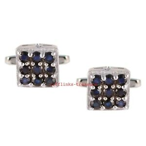 Natural Blue Sapphire Gemstones With 925 Sterling Silver Cufflinks For Men's