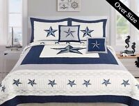 5 Piece Dallas Cowboys Western Star Design Quilt BedSpread Comforter Navy Blue