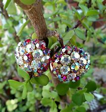 Juliana RED Rhinestone Aurora Borealis Clamper Bracelet